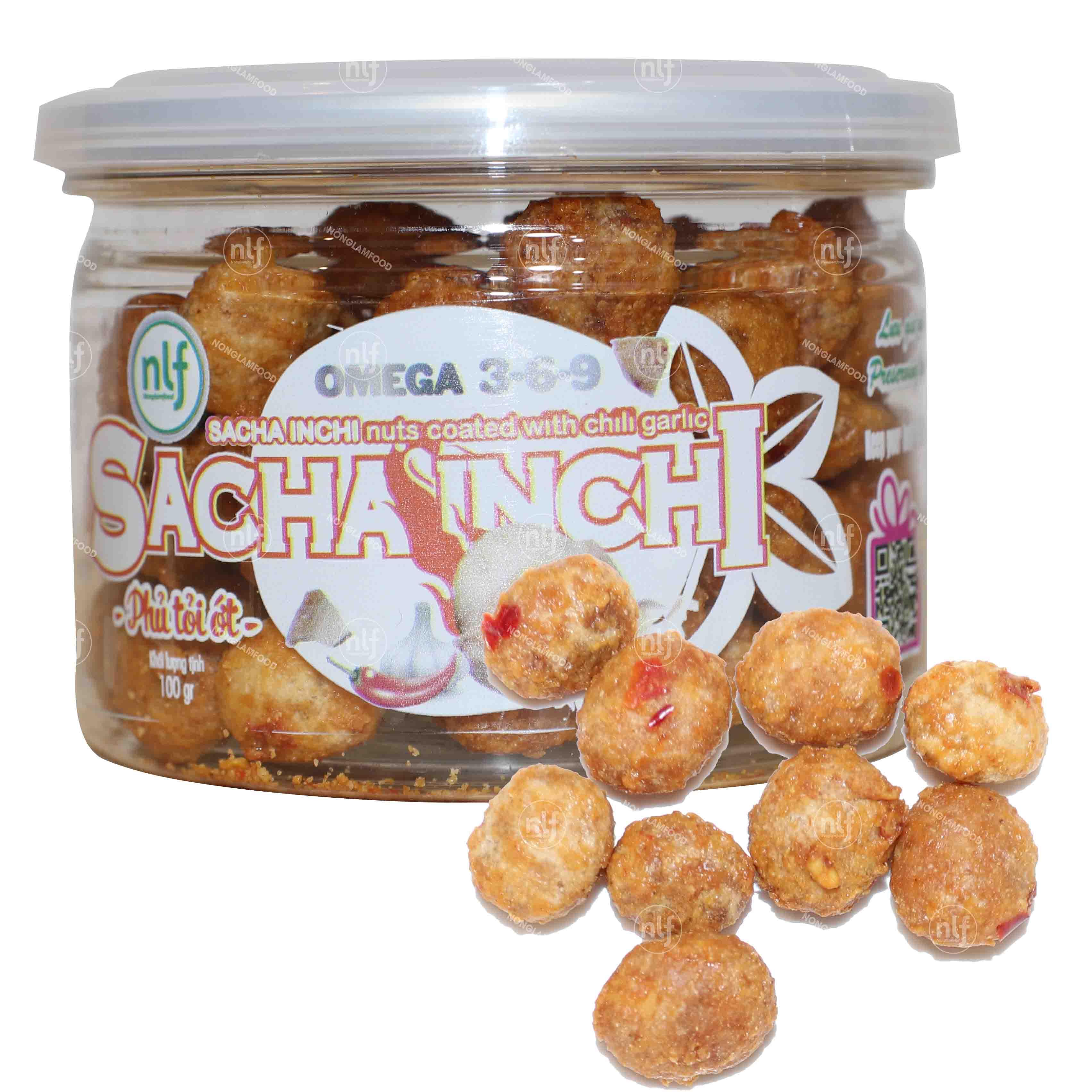 Sacha Inchi nuts coated with chili garlic